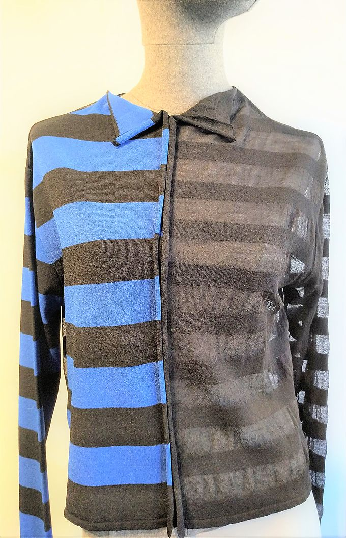 Sweater Sarah Pacini stripes blue and black
