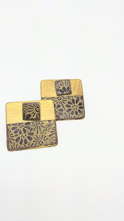 Earrings japanese paper squared
